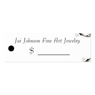 Merchandise Price Tags (Black & White Swirl) Pack Of Skinny Business Cards