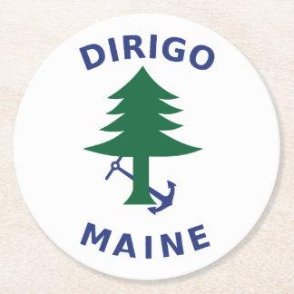 Merchant and Marine Flag of Maine Round Paper Coaster