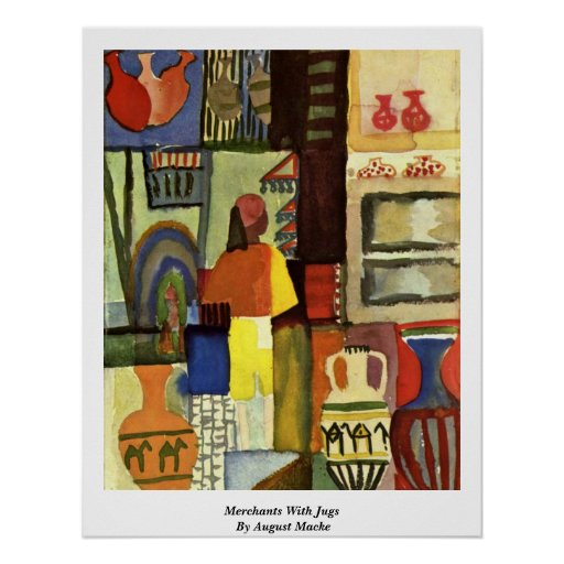 Merchants With Jugs By August Macke Print