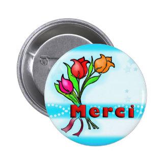 MERCI French Thank You fun flowers cartoon Button