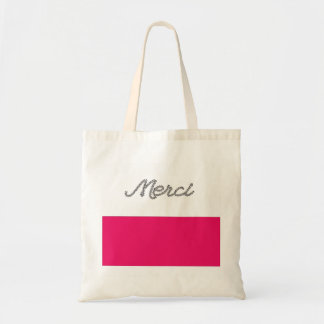 Merci French Word Thank You Pink Typography Cute Budget Tote Bag