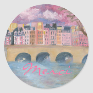 Merci Round Sticker