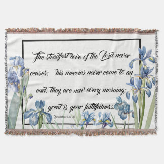 Mercies of God Blue Iris Flowers Throw Blanket