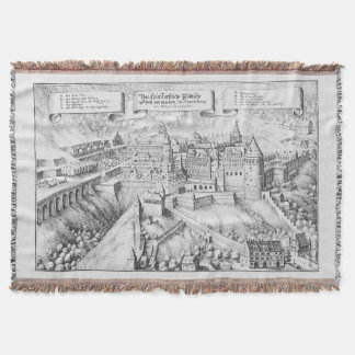 MERIAN: Heidelberg Castle and Royal Gardens ~1645 Throw Blanket