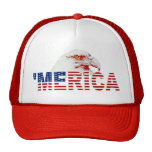 'MERICA American Bald Eagle US Flag Hat (red) Trucker Hat