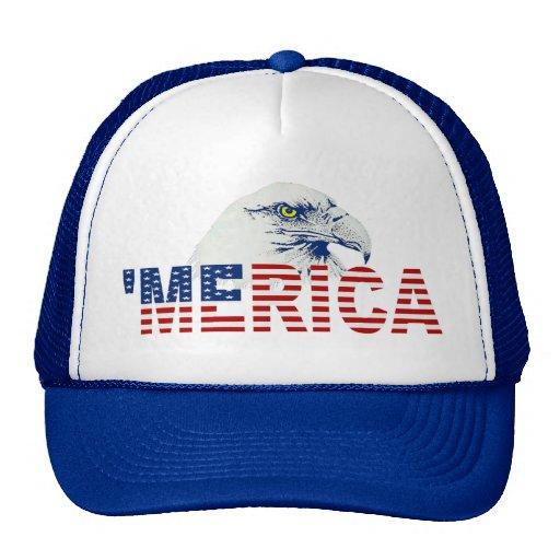 'MERICA Bald Eagle U.S. Flag Hat (blue) Trucker Hats