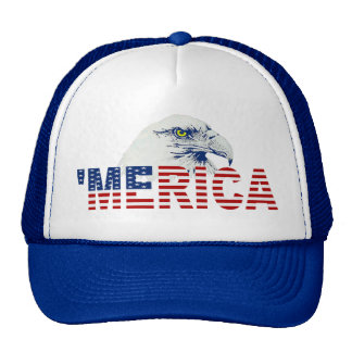 MERICA Bald Eagle U S Flag Hat blue Trucker Hats