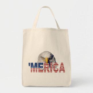 'MERICA Flag and Eagle Tote Bag Grocery Tote Bag