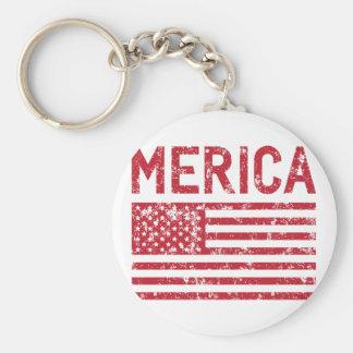 Merica Flag Basic Round Button Key Ring