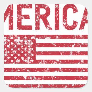 Merica Flag Square Sticker