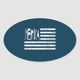 Merica Flag Oval Sticker