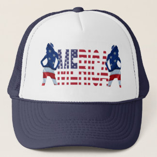 Merica text with flag & girls trucker hat