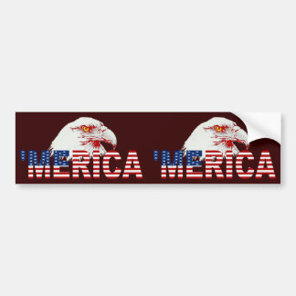 'MERICA U.S. Flag & Eagle 2-in-1 Bumper Sticker