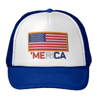 'MERICA US Flag Patch Stitch-Style Hat
