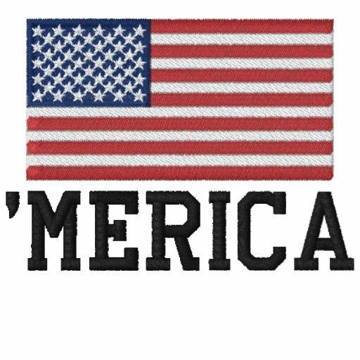 'MERICA USA Stars 'n Stripes FLAG Embroidery Embroidered Shirt
