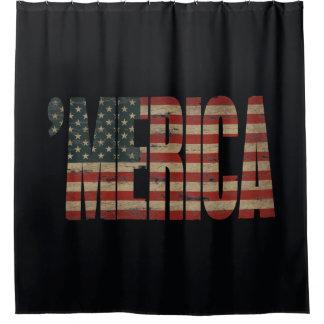 'MERICA Vintage US Flag Shower Curtain