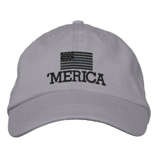 Merica with Gray and Black American Flag Embroidered Baseball Caps