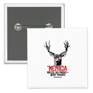 'Merican Deer - Rifles Six packs and deer tracks 15 Cm Square Badge
