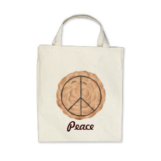Meringue Peace Pie Tote Bags, Chocolate Peace Sign