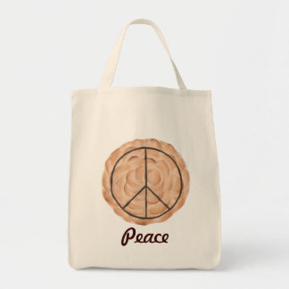 Meringue Peace Pie Tote Bags, Chocolate Peace Sign Grocery Tote Bag