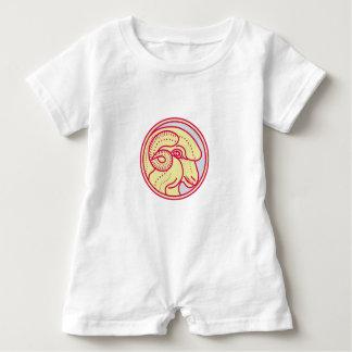 Merino Ram Sheep Head Circle Mono Line Baby Bodysuit