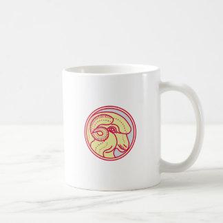 Merino Ram Sheep Head Circle Mono Line Coffee Mug