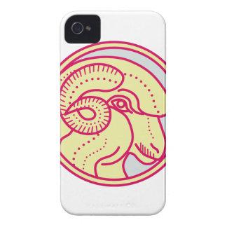 Merino Ram Sheep Head Circle Mono Line iPhone 4 Case-Mate Cases