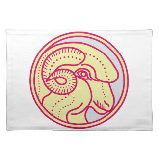 Merino Ram Sheep Head Circle Mono Line Placemat