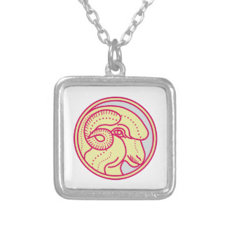 Merino Ram Sheep Head Circle Mono Line Silver Plated Necklace