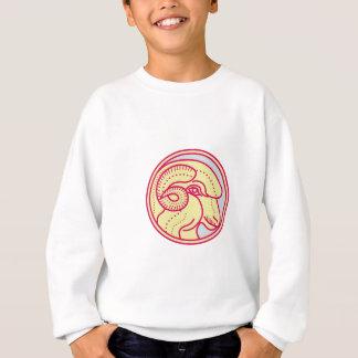 Merino Ram Sheep Head Circle Mono Line Sweatshirt