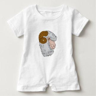 Merino Ram Sheep Head Drawing Baby Bodysuit