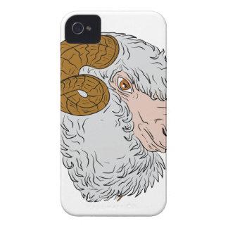 Merino Ram Sheep Head Drawing Case-Mate iPhone 4 Case