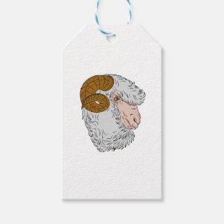 Merino Ram Sheep Head Drawing Gift Tags