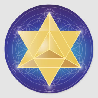 Merkaba with Flower of Life Classic Round Sticker