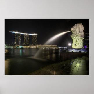 Merlion along Singapore River Marina at Night Poster