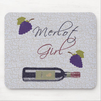 Merlot Girl - Vintage Wine Lovers Mouse Pad