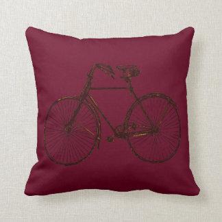 Merlot red black gold bicycle Throw pillow