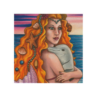 Mermaid 13 dolphin wood canvases