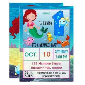 Mermaid 1st Birthday Party Custom Card