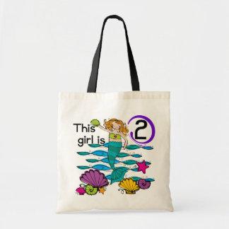 Mermaid 2nd Birthday Tshirts and Gifts Budget Tote Bag