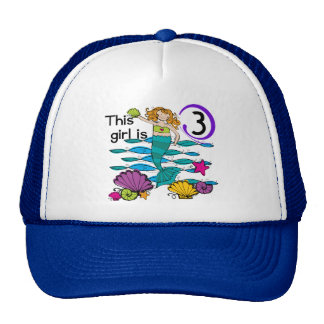 Mermaid 3rd Birthday T shirts and Gifts Cap
