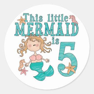 Mermaid 5th Birthday Round Sticker