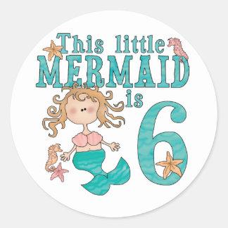 Mermaid 6th Birthday Classic Round Sticker