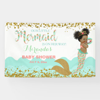 Mermaid African American Girl Coral Mint Gold