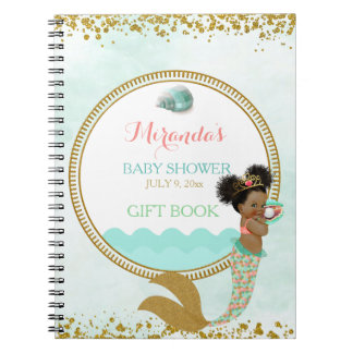 Mermaid African American Girl Peach Mint Gold Notebook