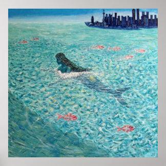 Mermaid against the Tide Poster