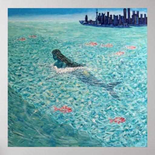 Mermaid against the Tide Print