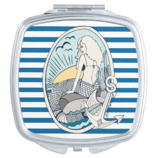 Mermaid and Anchor Blue and White Stripe Travel Mirrors