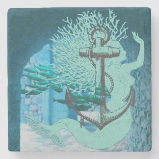 Mermaid And Anchor Stone Coaster