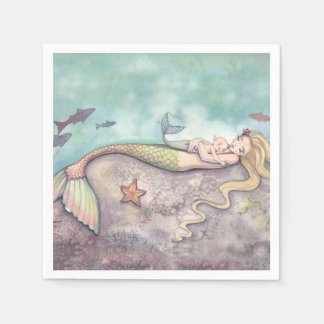 Mermaid and Baby Baby Shower Napkins Paper Napkin